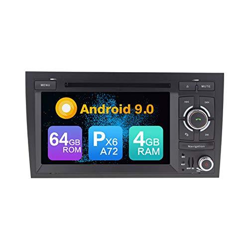 Android 9.0 PX6 Cortex A72 4G Ram 64G Rom Autoradio GPS Navigazione DVD Radio Controllo del volante Mirror Link Mappa dell'Europa Bluetooth Wi-Fi Per Audi A4 2002 2003 2004 2005 2006 2007 2008