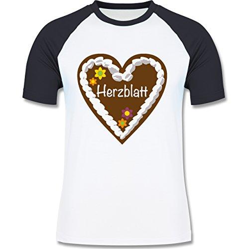 Oktoberfest Herren - Lebkuchenherz Herzblatt - zweifarbiges Baseballshirt für Männer Weiß/Navy Blau
