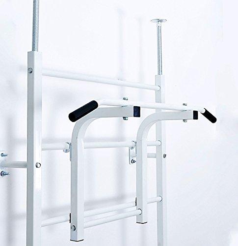 Turnwand Sprossenwand Klimmzugstange Dips Bauchtrainer Rückentrainer Reckstange Weiß -