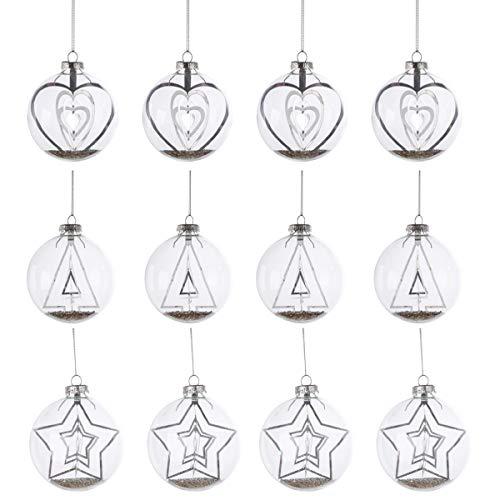 Design for your heart Exklusive Weihnachtskugel Mary - 12 St. - Silber/Klar - Stern - Herz - Tanne - Glaskugel