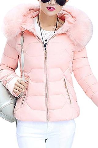 YMING Femme Manteau Hiver Jacket Court Veste à Capuche Fourrure