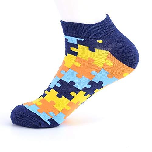WZHHXXG 5 Paare Sommer Knöchel Puzzle Lustige Boot Low Cool Socken Kurze Kreative Socken Frauen Männer Casual Socken One Size gelb