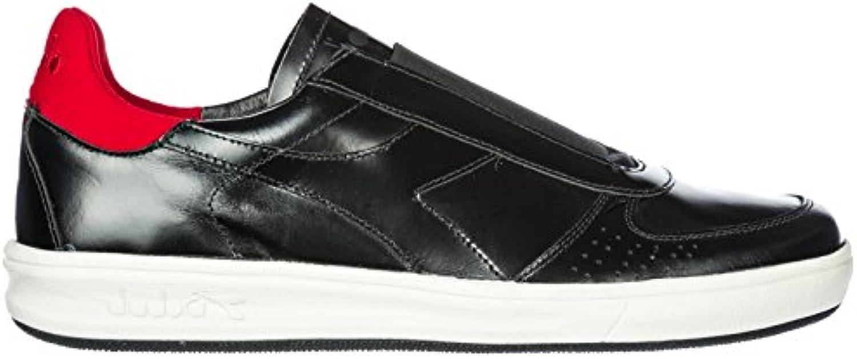 Diadora Heritage Herren Leder Slip on Slipper Sneakers b. Elite Schwarz