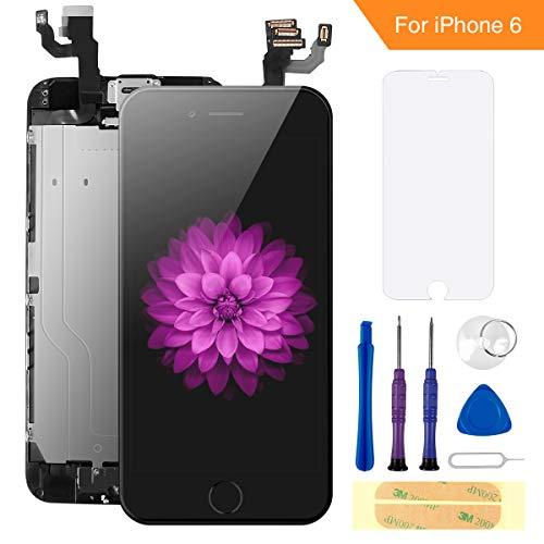 FLYLINKTECH Für iPhone 6 Display Schwarz, Ersatz Für LCD Touchscreen Digitizer vormontiert mit Home Button, Hörmuschel, Frontkamera Reparaturset Komplett Ersatz Bildschirm mit Werkzeuge Lcd-schwarz