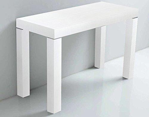 Arredinitaly - Mesa Extensible 90 x 50 a 90 x 300 cm(hasta 12 plazas) Color Blanco fresado a poro Abierto