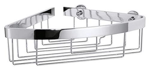 tesa ALUXX Eck-Duschablage, Aluminium, verchromt, garantiert rostfrei, inkl. Klebelösung, 87mm x 205mm x 210mm (Dusche Eck-regal Aus Marmor)