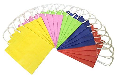 folia 21809 - Papiertüten aus Kraftpapier, Geschenktüten, 20 Stück, 18 x 8 x 21 cm, farbig sortiert - zum Basteln, Verzieren und Verschenken -
