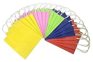 Folia 21209 - de Papel Bolsas de Papel Kraft, 12 x 5,5 x 15 cm, 20 Piezas, Colores Surtidos