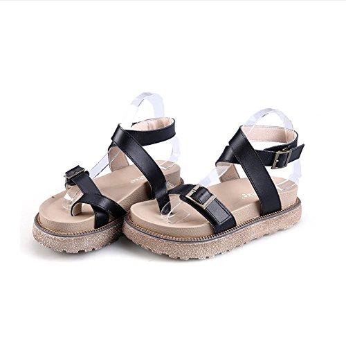 CXKS® Sandales Muffin Femmes Épaisse Croûte Mince Boucle de Sandales en Caoutchouc Confortables en Cuir