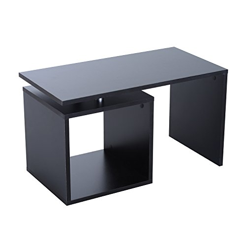 Homcom Table Basse contemporaine Design géométrique carré rectangulaire 77L x 40l x 44H cm Noir Mat 36BK
