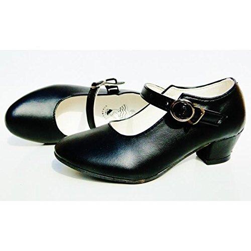 CB Chaussures Escarpin Noir de Danse Flamenco Fille Enfant Fillette