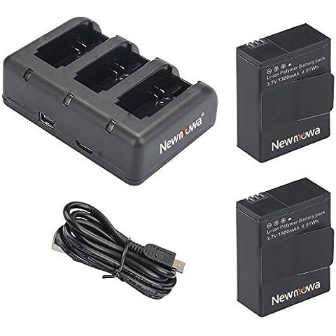 Newmowa1300mAh Batería de repuesto (2-Pack) y Kit de Cargador para Mini USB portátil para Gopro Hero 3, Gopro Hero 3+, AHDBT-301,