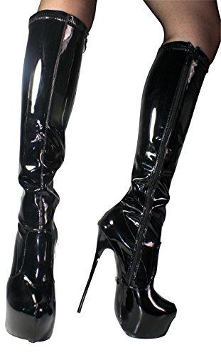 EROGANCE peinture plateau talons hauts bottes hautes a5334 36–46/eU Noir - Blk