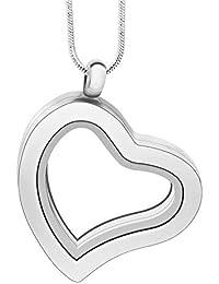 YDMSGSB Colgante Collar Joyas Aleación Marco de Fotos de Grava DIY Colgante en Forma de corazón