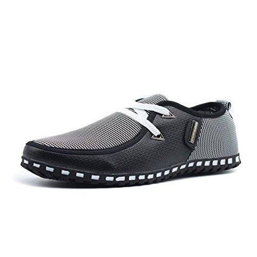Qianliuk Herren Casual Schuhe Light Flats Schuhe Atmungsaktive Leder Loafers Slip on Shoes Driving Flats -