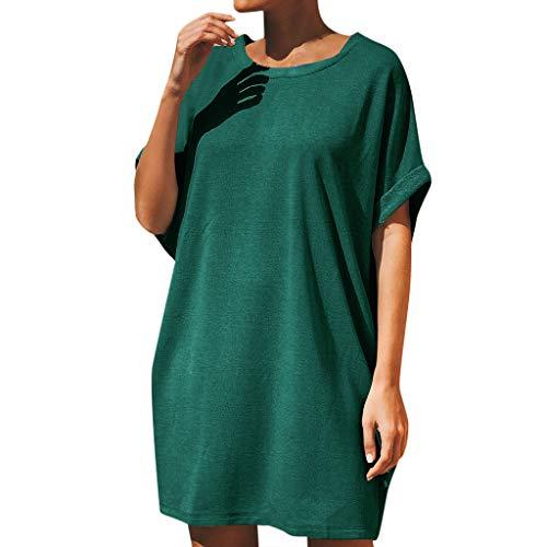 Damen Minikleider Sommer-T-Shirt Tunika Kleid Kurzarm Lose Solide Rundhalsbluse Tops Pullover Party Kleid Gr. Medium, grün (60er Jahre Mod Kleid Kostüm)