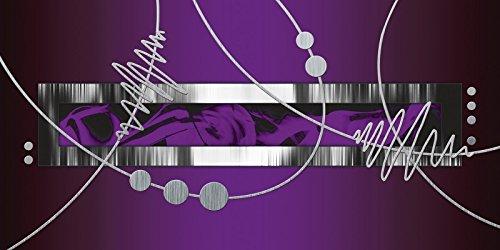 Artland Poster oder Leinwand-Bild gespannt auf Keilrahmen mit Motiv Jule Silber abstrakt auf violett Abstrakte Motive Gegenstandslos Digitale Kunst Lila A7PJ (Zeitgenössische Bar Silber)