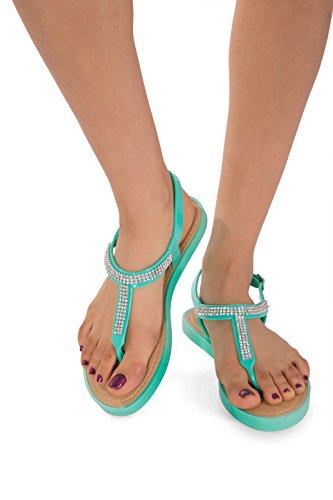 Infradito piatte Diamante da donna o bambina, in gel, con perline, calzature da spiaggia. Taglie: 3, 4, 5, 6, 7, 8 (Regno Unito), 36, 37,5, 39, 40, 41,5, 42,5 (Europa). Blu