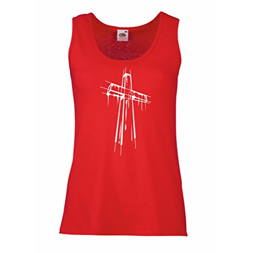 Femme Débardeur Sans manche Croix affligée - Cadeaux religieux. Habillement chrétien Rouge Multicolore