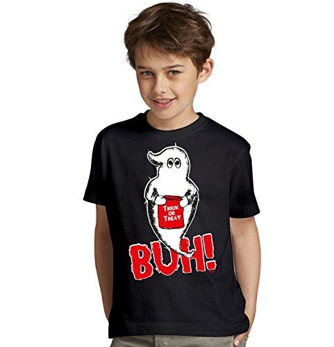 Süsses sonst gibts saures Kinder-Halloween-Fun-T-Shirt als Geschenke-Idee Motiv: Geist Buh! Farbe: schwarz Gr: 110/116
