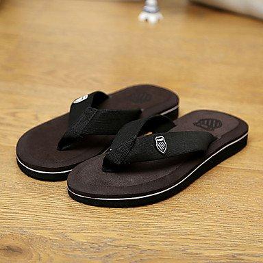 Slippers & amp da uomo;Estate Comfort similpelle casuali piani del tallone Sandali Grigio Giallo Marrone sandali US8 / EU40 / UK7 / CN41