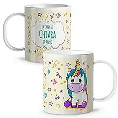 Idea Regalo - Lolapix Tazza Unicorno Personalizzata con Nome | Ritorno a Scuola | Plastica | Vari Disegni | Unicorno