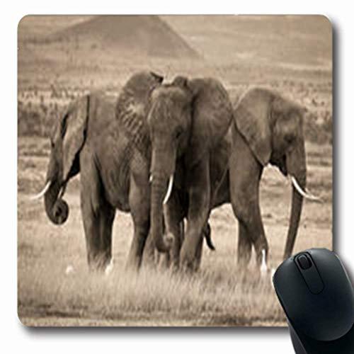 Luancrop Mousepads Trio afrikanische Elefanten der Sepia-Tier-Natur-Nationale längliche Spiel-Mausunterlage rutschfeste Gummimatte -