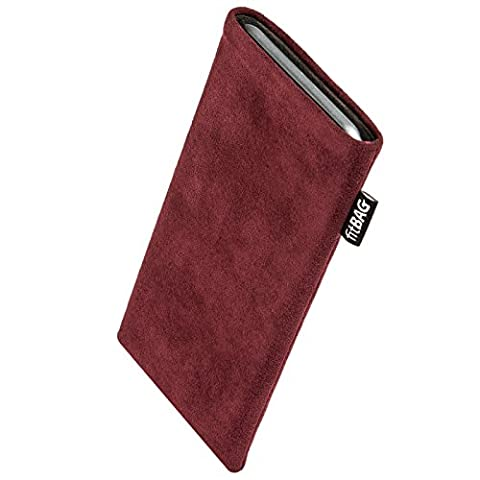 fitBAG Classic Burgundy custom tailored sleeve for E-Ten Glofiish M700. Genuine Alcantara pouch with integrated MicroFibre lining for display cleaning