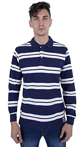 Quotee Winter Exclusive Men's Striper Polo Navy And White Polo T Shirt By GlamFolio IPL