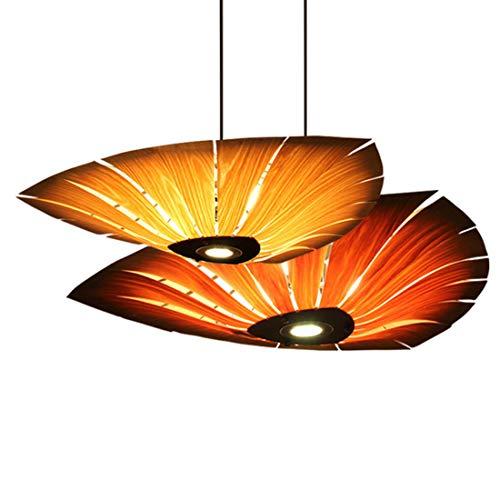 Kirsche Antik Messing (Ahornblatt Pendelleuchte Retro Wohnzimmer Holz HäNgende Leuchte E27 Restaurant Schlafzimmer BüRo Showroom Dekorative Beleuchtung (Eiche/Kirsche) + Scheinwerfer,oak,60cm diameter)