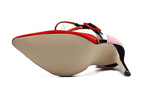 SHINIK Damen-Knöchel-Bügel-Pumpe Spitz-Zeh Hohle Nähte Farbe Design Gürtelschnalle Wildleder Fein mit High Heel Sandalen Red