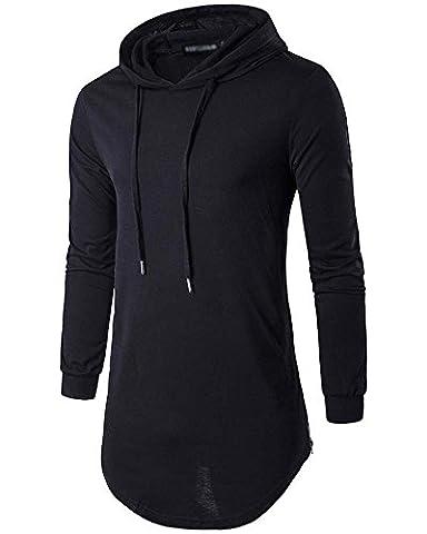 Homme Casual Sweat à Capuche T-Shirts à Manches Longues Tops Noir M