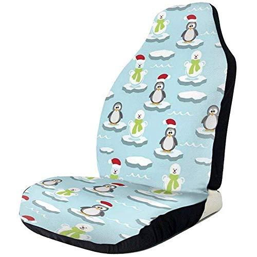 Be-ryl-Cars seat covers Coprisedili per Auto Simpatici Pinguini e Pupazzi di Neve Sedili Anteriori e Posteriori in Poliestere Stampato Full size2 P