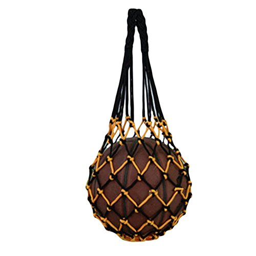 Katech Personal baloncesto bolsa de malla red para bola de moda bolsa de almacenamiento para fútbol, voleibol y fútbol, Black with yellow