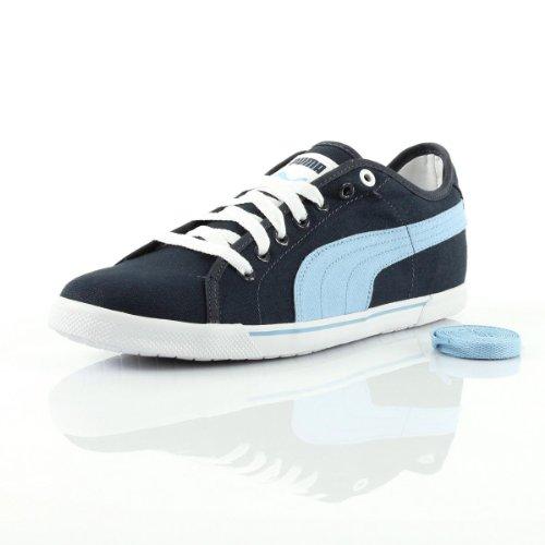 Puma Benecio Canvas 35075427, Baskets Mode Homme Bleu foncé, bleu ciel et blanc