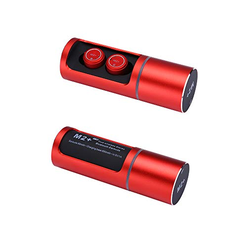 Kuan Bluetooth 5.0 In-Ear Wireless Stereo Sport Kopfhörer Mini Smart Rauschunterdrückung Binaural Anruf Wasserdichte Musik Bluetooth Headset Computer Mobile Gaming Headset,Red - 5 8 Split-ring