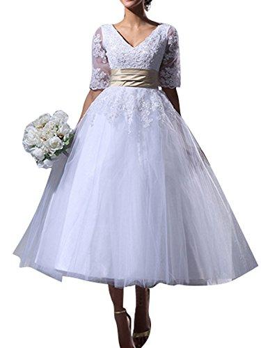 Brautkleider Hochzeitskleid Damen Kleid A Linie Tüll Halbarm Midi V-Ausschnitt Weiß EUR58