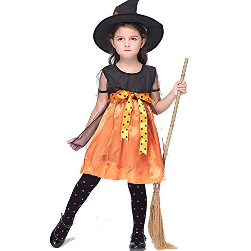 Halloween Cosplay, Hexe Kostüm Kinder Performance Kleidung Rock Anzug Hexe Rollenspiel - Satin Hexe Kostüm