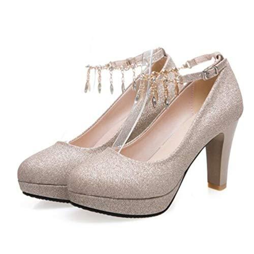 Frauen Plattform Fersen kleiden einzelne Schuhe Diamant-Millinen Braut-Mäggen Hochzeit High-Heeled Knöchelpumpen