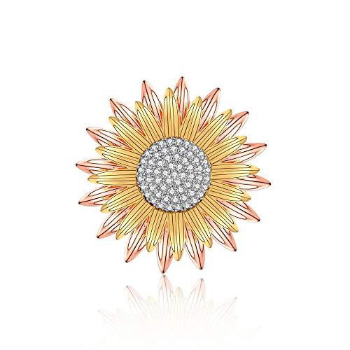 he für Frauen Mode Sonnenblume Form Damen Geschenk Schmuck Abzeichen Dekoration Brooch Roségold und Goldfarbe ()