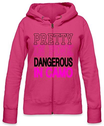 Pretty In Pink Dangerous In Camo Slogan Womens Zipper Hoodie X-Large