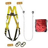 IMBRACATURA ANTICADUTA 2 punti ancoraggio: kit COMPLETO CE protezione personale anticaduta sospensione in aria, lavoro alpinismo, corda poliammide di sicurezza, sacca viaggio, moschettoni di sicurezza