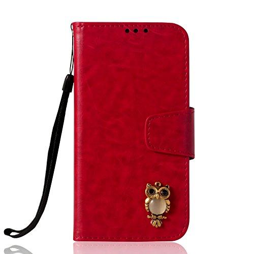 Lomogo Huawei P Smart Hülle Leder, Schutzhülle Brieftasche mit Kartenfach Klappbar Magnetverschluss Stoßfest Kratzfest Handyhülle Case für Huawei P Smart - LOYBO38244 Rot