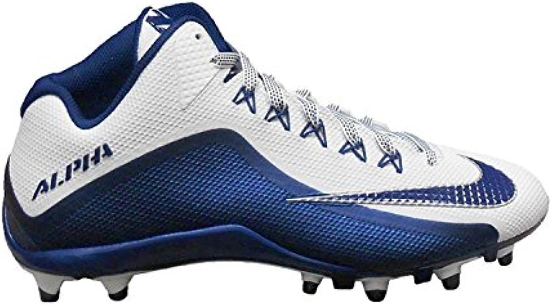 Nike Men's Alpha Pro 2 Football Cleat, Blanco/azul marino, 45.5 D(M) EU/10.5 D(M) UK
