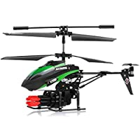 LENRUE New V398 3.5 Channel Missile Shooting RC Helicopter RTF With Six Missiles Rapid Fire (Colors May Vary)
