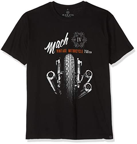 MAKAYA Camisetas Moteras - Vintage Moto Mach 4 Hombre Negras XXXL