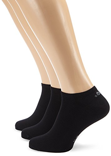 s.Oliver Unisex - Erwachsene Sneakersöckchen 3-er Pack, S24001, Gr. 35-38, Schwarz (05 black) (Mädchen-socken Pack)