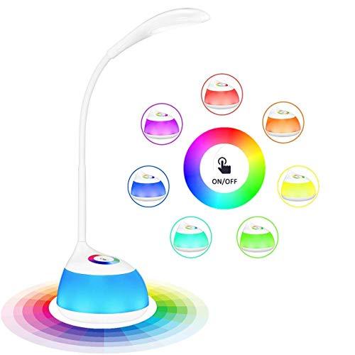 VicTsing LED Lampe de Bureau Enfant, Veilleuse Enfant 256 Couleurs Changeables 5W RGB 16 LED, Lampe de Chevet Tactile 3 Niveaux de Luminosité Réglables, Autonomie de 30H pour Bébé, Enfant, Lecture
