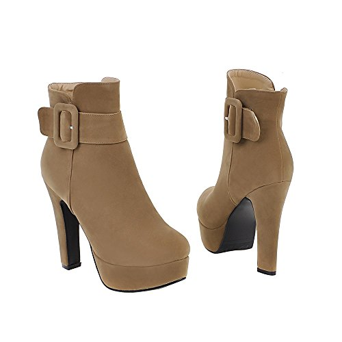 ENMAYER Femmes Sexy Suede Plate-forme Solide Automne/Hiver Bottines Taille 34-43 Le Beige