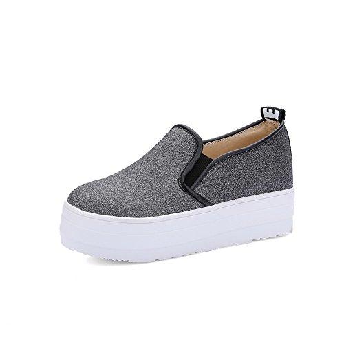 Senhoras Allhqfashion Movimento Rodada Toe Para Misturar-primas Puramente Meados De Calcanhar Bombas Sapatos Pretos